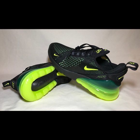new arrival 88dcd b6360 New Nike Air Max 270 Black Volt/Green Oil Shoes